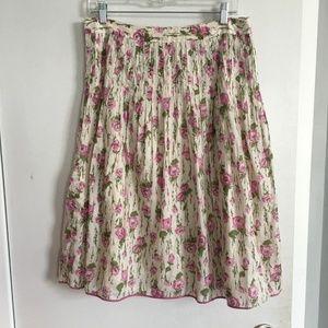 J.Crew Knee Length Floral Pleated Skirt